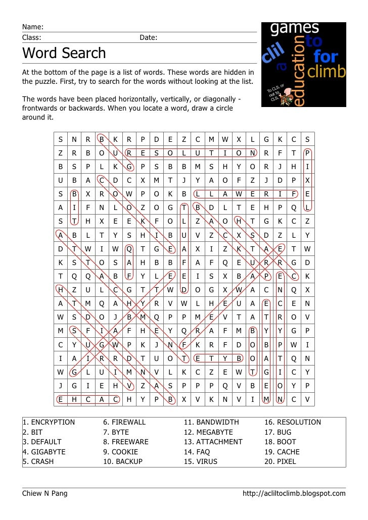 Name: Class:                                 Date:  Word Search At the bottom of the page is a list of words. These words ...