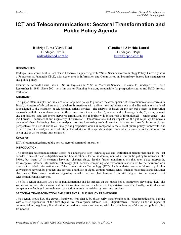 Ict and telecommunications sectoral transformation and public policy agenda - Rodrigo Lima Verde Leal, Claudio de Almeida Loural (2010)