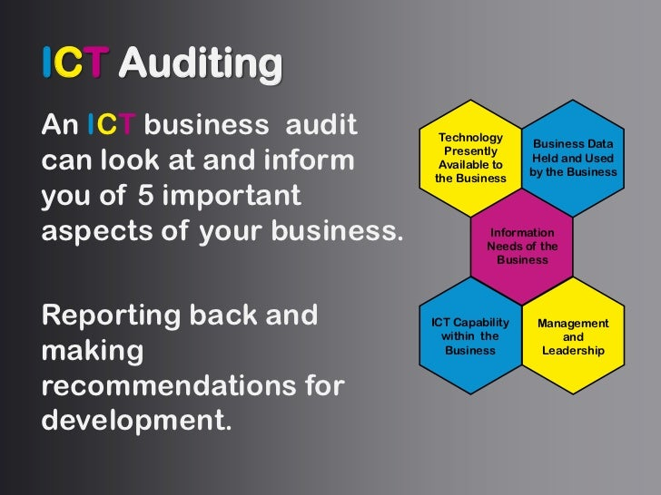 ICTAuditing<br />An ICT business  audit can look at and inform you of 5 important aspects of your business.<br />Reporting...