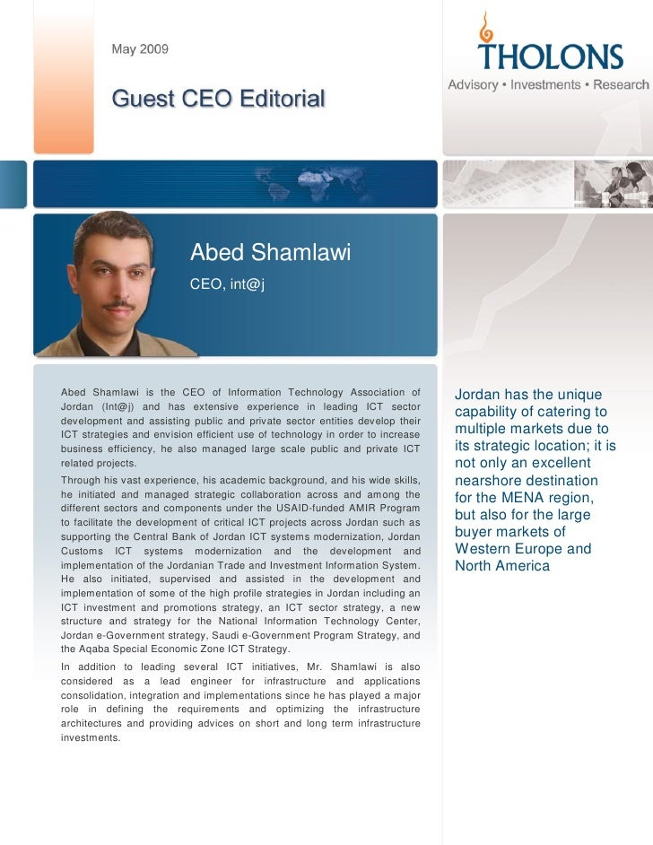 Abed Shamlawi                            CEO, int@j     Abed Shamlawi is the CEO of Information Technology Association of ...
