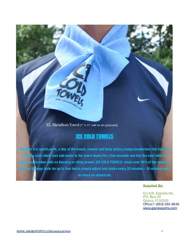 """XL Marathon Towel [7"""" X 31"""" with tie slit (pictured)]                                        ICE COLD TOWELS Whether it is..."""