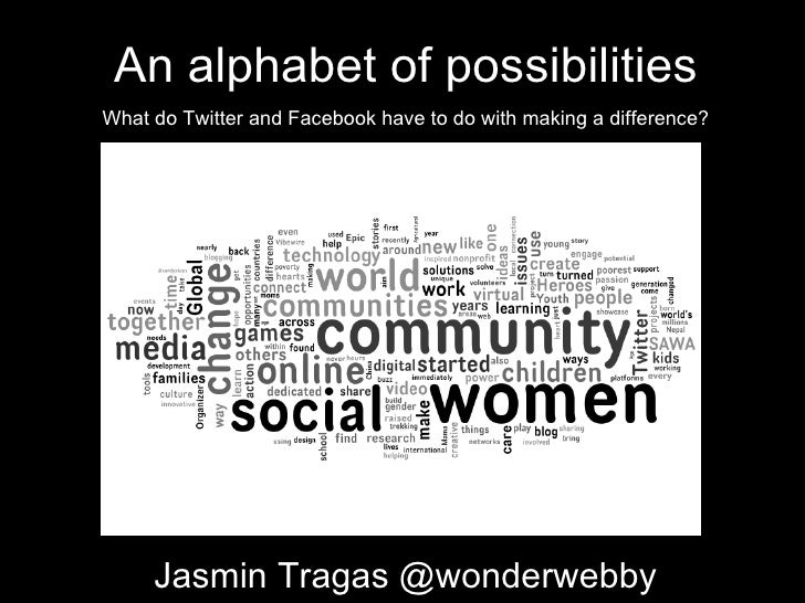 An alphabet of possibilities What do Twitter and Facebook have to do with making a difference? Jasmin Tragas @wonderwebby