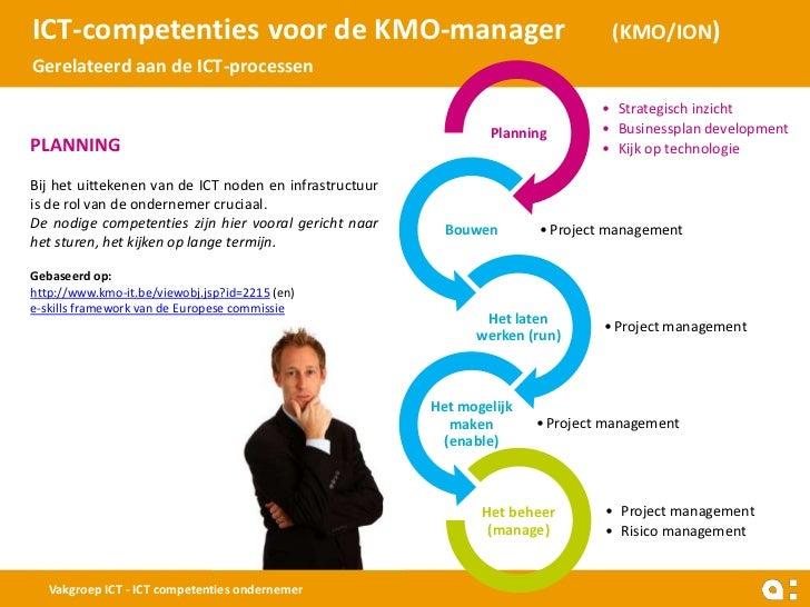 ICT-competenties voor de KMO-manager                                             (KMO/ION)Gerelateerd aan de ICT-processen...