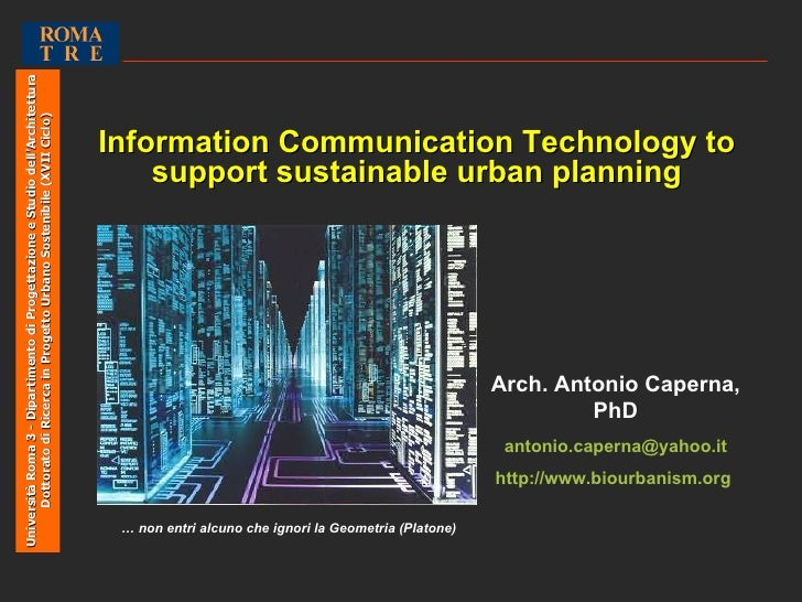 ICT AND URBAN PLANNING. By Antonio Caperna