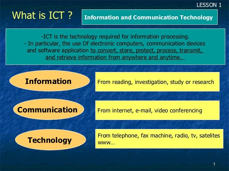 What is ICT ?  <ul><li>ICT is the technology required for information processing. </li></ul><ul><li>In particular, the use...