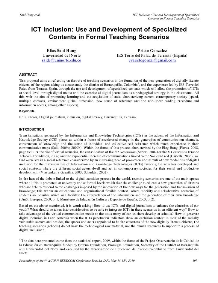 Ict inclusion use and development of specialized contents in formal teaching scenarios - Elias Said Hung, Prieto Gonzalez (2010)