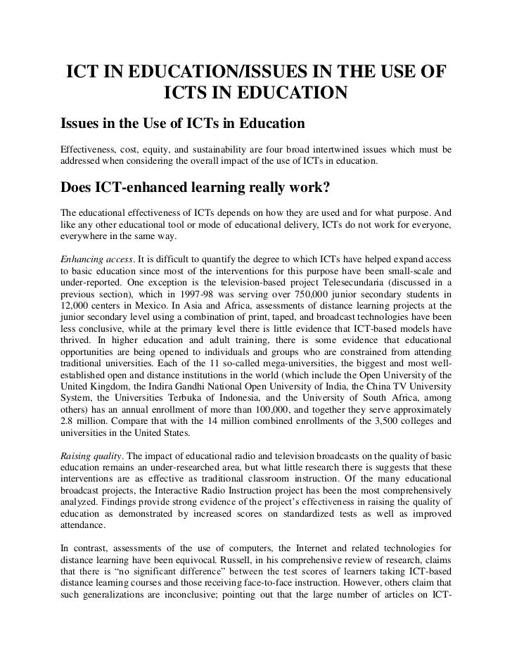 ICT IN EDUCATION/ISSUES IN THE USE OF ICTS IN EDUCATION<br />Issues in the Use of ICTs in Education<br />Effectiveness, co...