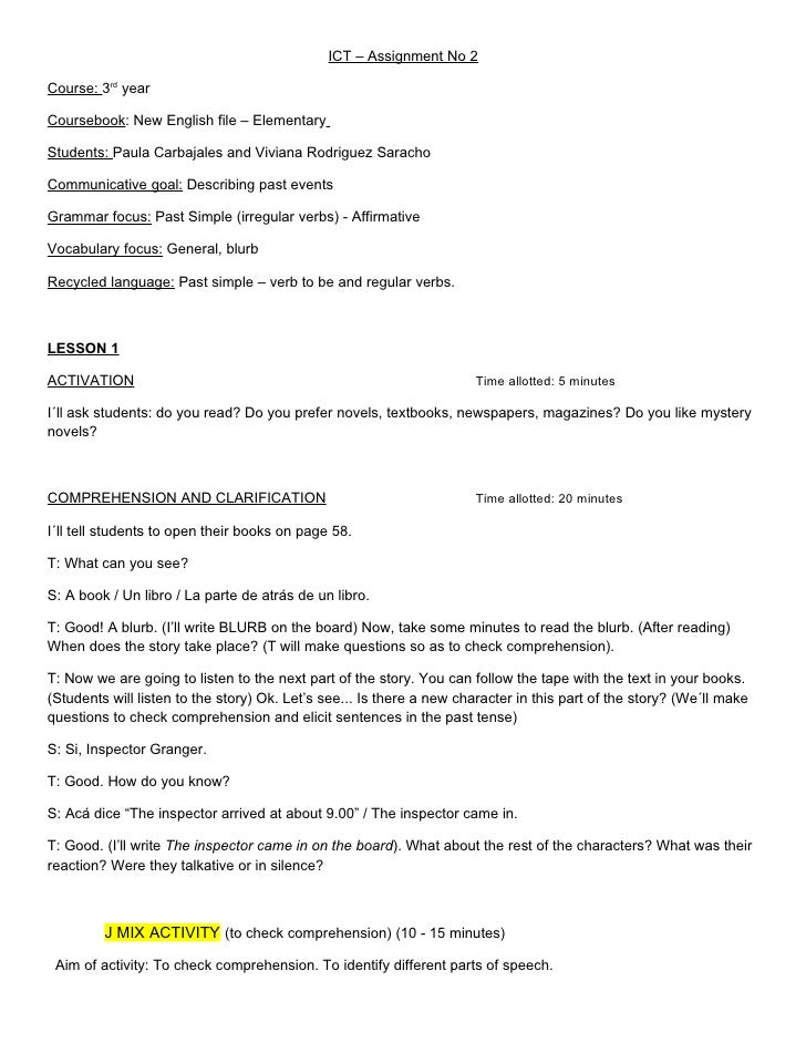 ICT – Assignment No 2Course: 3rd yearCoursebook: New English file – ElementaryStudents: Paula Carbajales and Viviana Rodri...