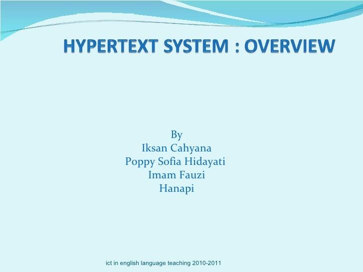 By Iksan Cahyana Poppy Sofia Hidayati  Imam Fauzi Hanapi ict in english language teaching 2010-2011