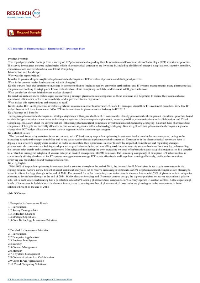 ICT Priorities in Pharmaceuticals Industry: Researchmoz.us