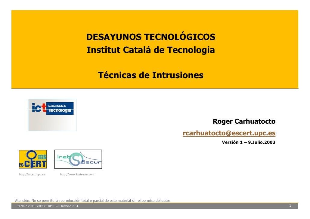 DESAYUNOS TECNOLÓGICOS                                               Institut Catalá de Tecnologia                        ...