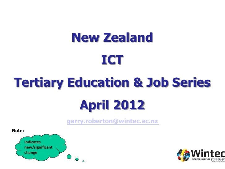 New Zealand                                    ICTTertiary Education & Job Series                             April 2012  ...