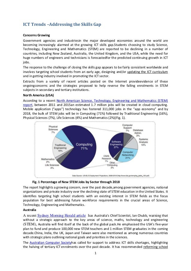 1 ICT Trends –Addressing the Skills Gap Concerns Growing Government agencies and industriesin the major developed economie...