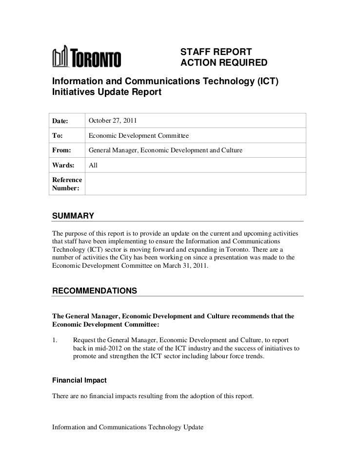 Ict Update Report   October 28, 2011
