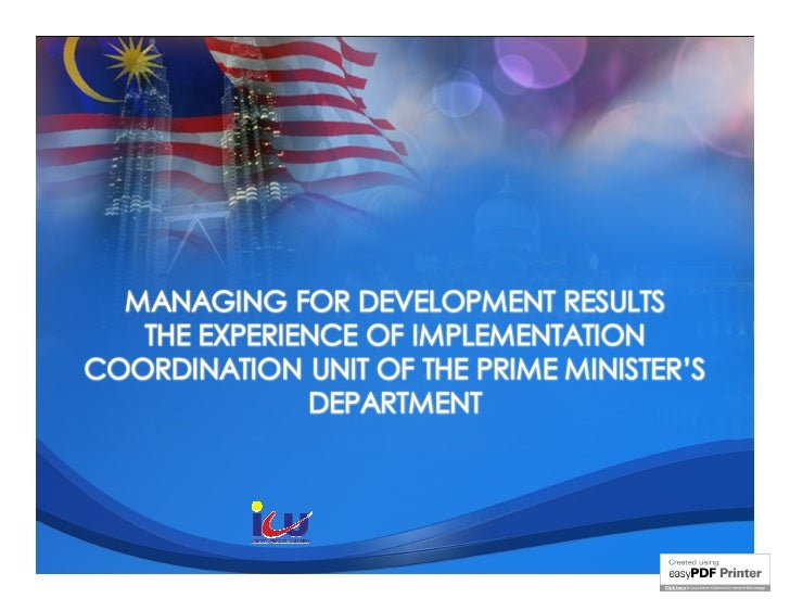 MfDR at the Coordination Unit of the Primes Minister's Department