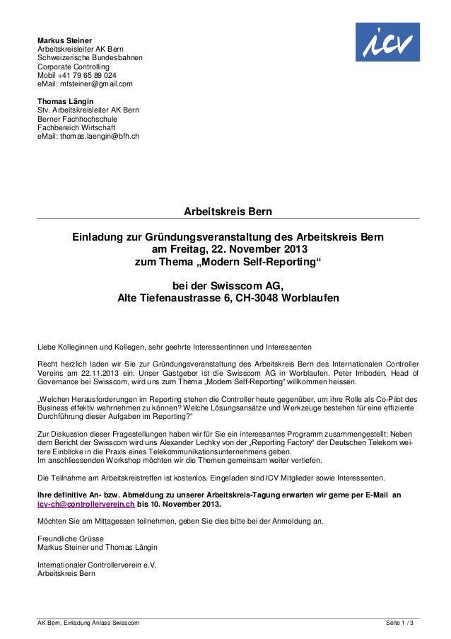 AK Bern, Einladung Anlass Swisscom Seite 1 / 3Markus SteinerArbeitskreisleiter AK BernSchweizerische BundesbahnenCorporate...