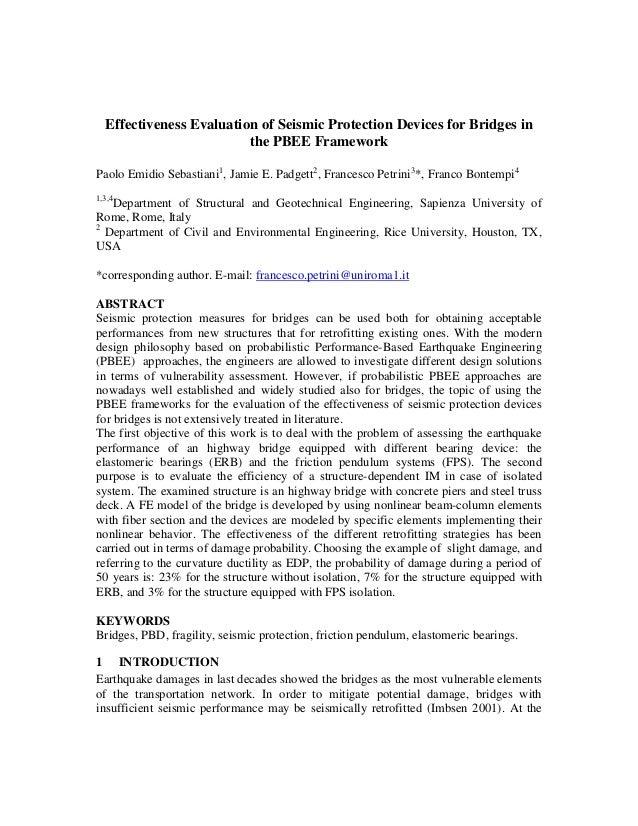 Effectiveness Evaluation of Seismic Protection Devices for Bridges in the PBEE Framework Paolo Emidio Sebastiani1, Jamie E...