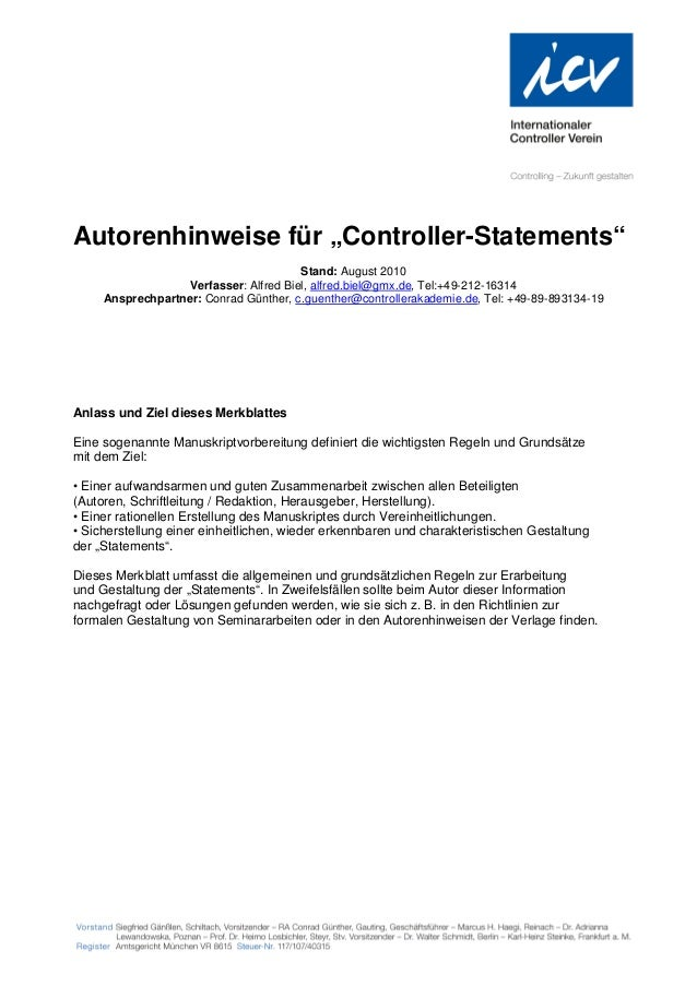 """Autorenhinweise für """"Controller-Statements""""                                        Stand: August 2010                   Ve..."""