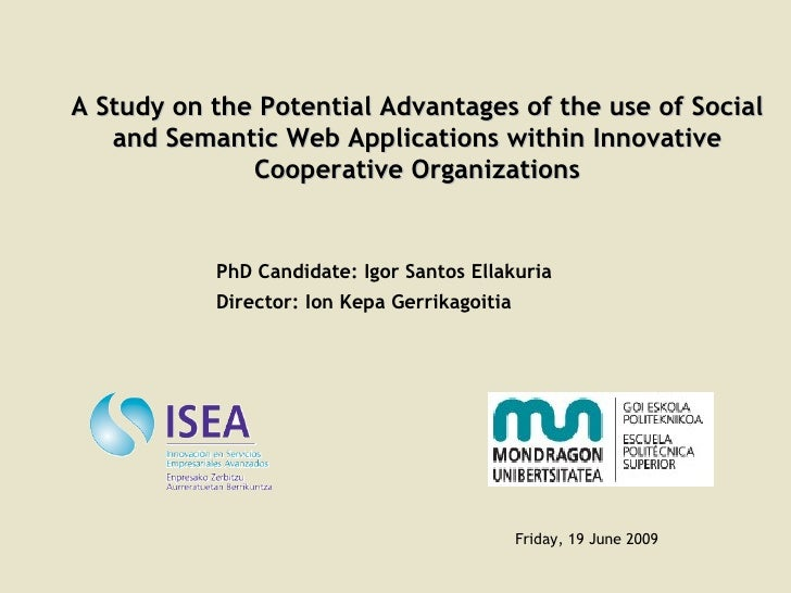 A Study on the Potential Advantages of the use of Social and Semantic Web Applications within Innovative Cooperative Organ...