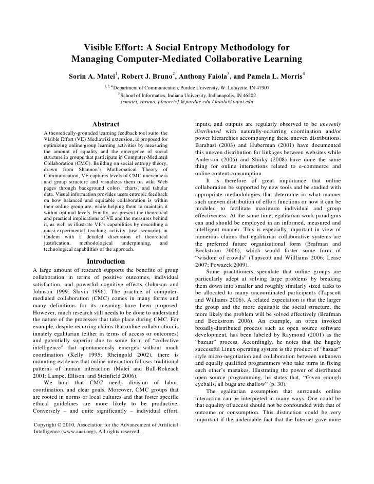 Icwsm10 S MateiVisible Effort: A Social Entropy Methodology for  Managing Computer-Mediated Collaborative Learning