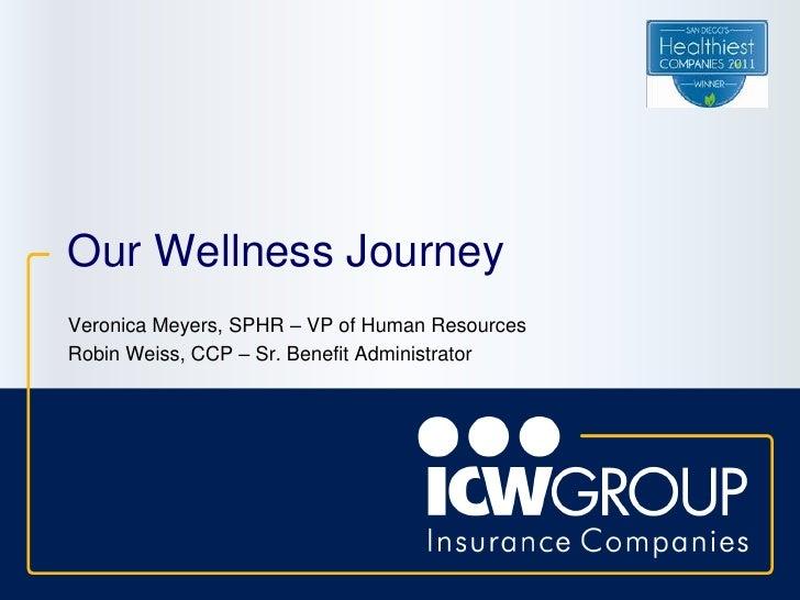 Our Wellness JourneyVeronica Meyers, SPHR – VP of Human ResourcesRobin Weiss, CCP – Sr. Benefit Administrator