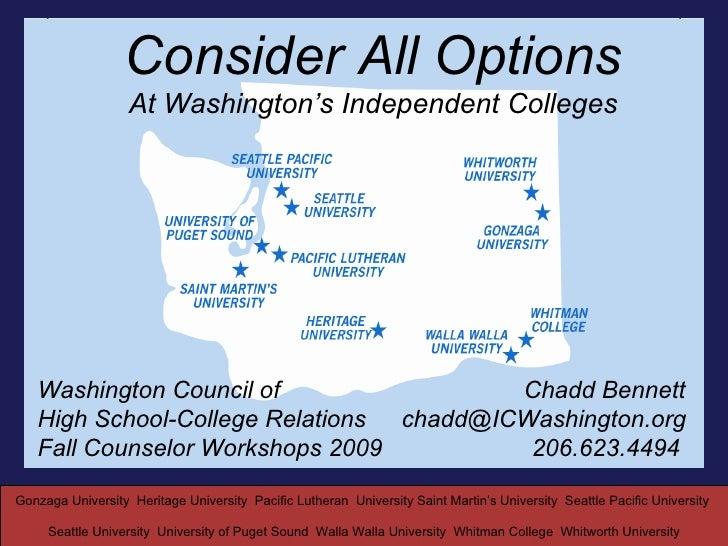 Independent Colleges of Washington WCHSCR 2009 Presentation