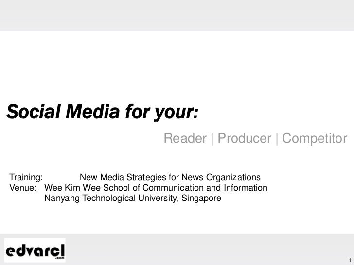 Social Media for your:                                   Reader | Producer | CompetitorTraining:        New Media Strategi...