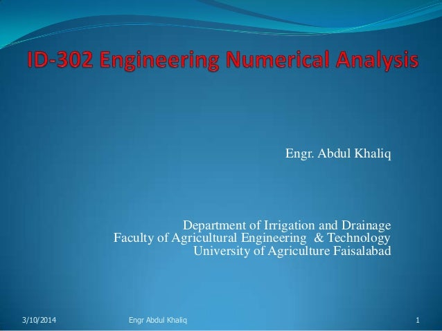 Engineering Numerical Analysis Lecture-1