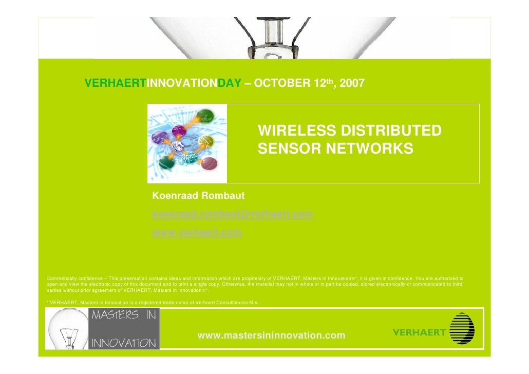 © MASTERS IN INNOVATION ®                               Wireless distributed sensor networks                              ...