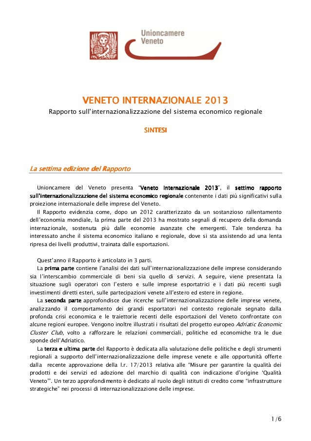 1/6 VENETO INTERNAZIONALE 201VENETO INTERNAZIONALE 201VENETO INTERNAZIONALE 201VENETO INTERNAZIONALE 2013333 Rapporto sull...