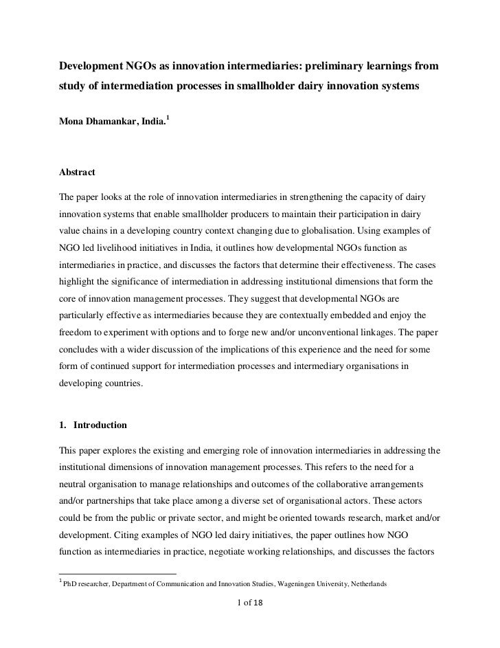 Development NGOs as innovation intermediaries: preliminary learnings fromstudy of intermediation processes in smallholder ...
