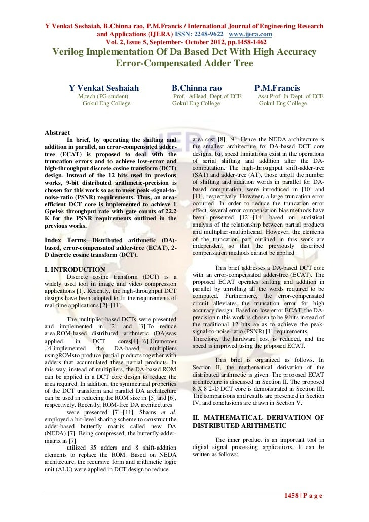 Y Venkat Seshaiah, B.Chinna rao, P.M.Francis / International Journal of Engineering Research                and Applicatio...
