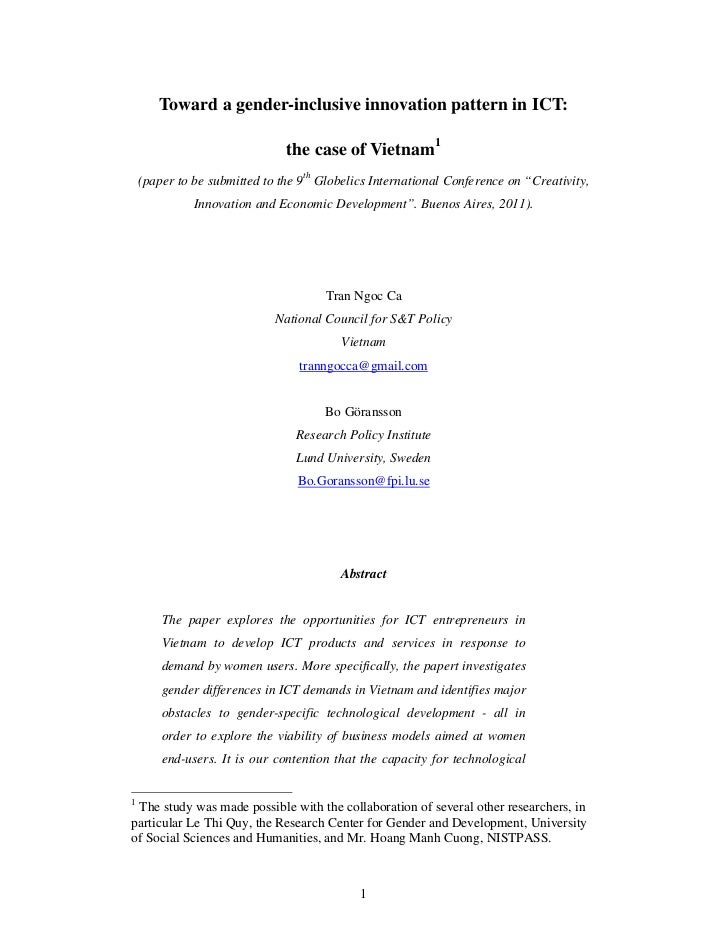 Toward a gender-inclusive innovation pattern in ICT:                               the case of Vietnam1    (paper to be su...