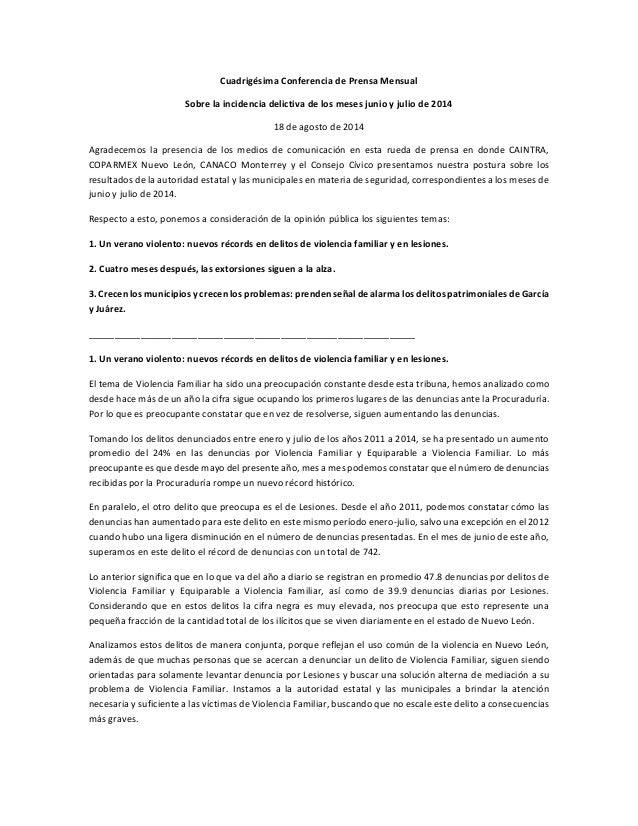 Cuadrigésima Conferencia de Prensa Mensual Sobre la incidencia delictiva de los meses junio y julio de 2014 18 de agosto d...