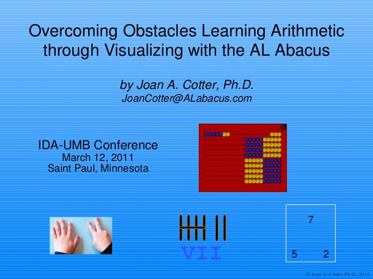 Overcoming Obstacles Learning Arithmetic through Visualizing with the AL Abacus IDA-UMB Conference March 12, 2011 Saint Pa...