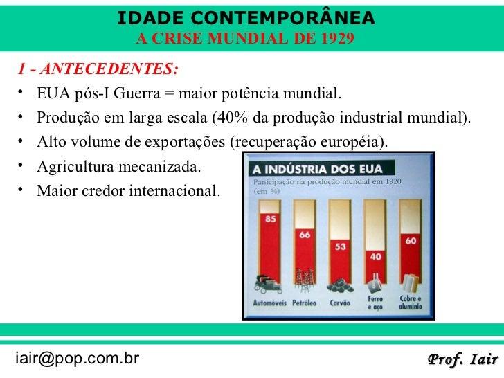 IDADE CONTEMPORÂNEA                A CRISE MUNDIAL DE 19291 - ANTECEDENTES:• EUA pós-I Guerra = maior potência mundial.• P...