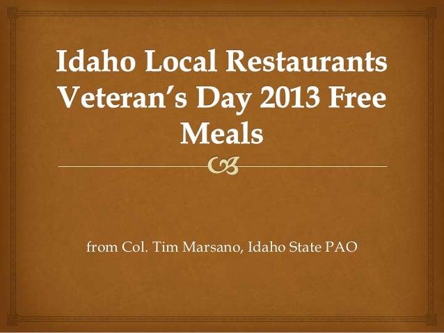 from Col. Tim Marsano, Idaho State PAO