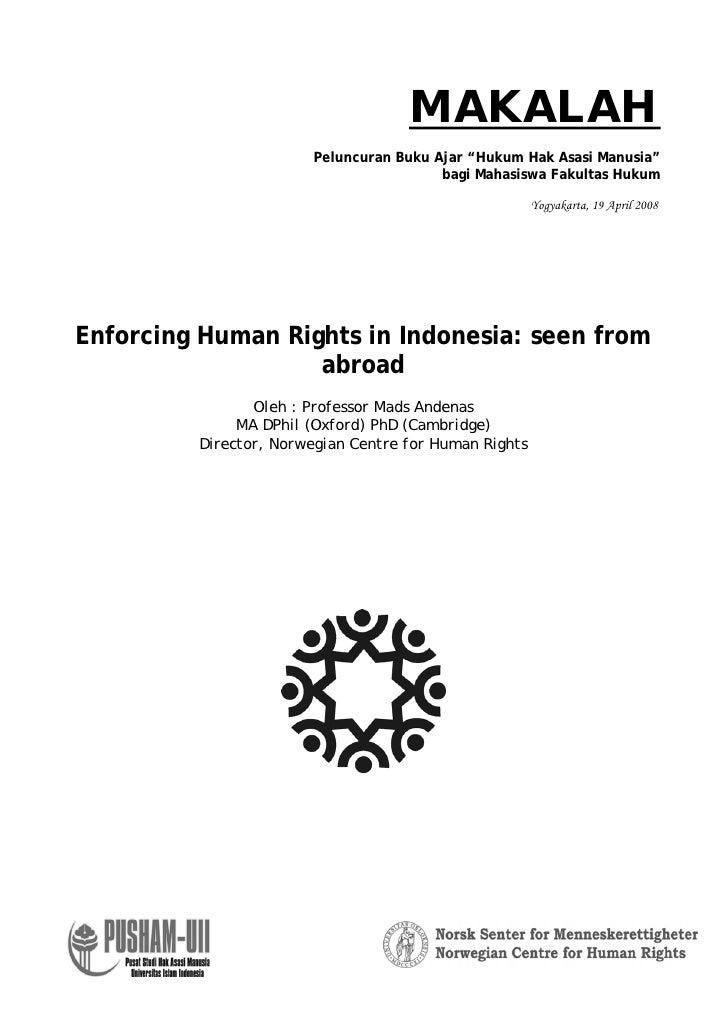 """MAKALAH                       Peluncuran Buku Ajar """"Hukum Hak Asasi Manusia""""                                        bagi M..."""