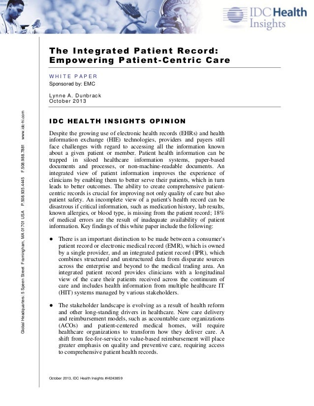 IDC White Paper - Integrated Patient Record - Empowering Patient Centric Care - October 2013