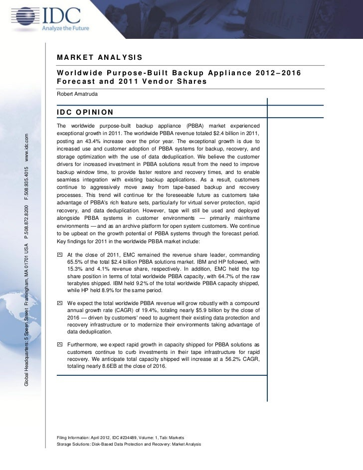 IDC: Worldwide Purpose-Built Backup Appliance 2012-2016 Forecast and 2011 Vendor Shares