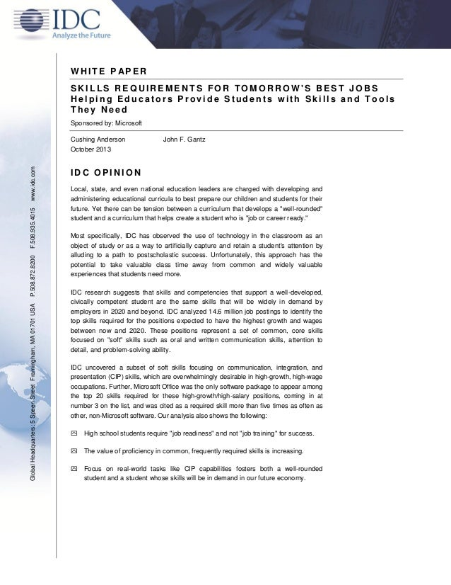 WHITE PAPER - Skills requirements for tomorrow's best jobs