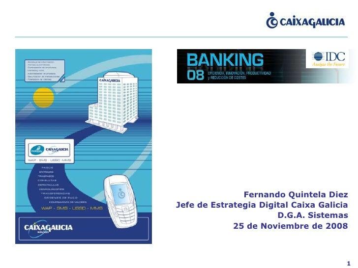 Fernando Quintela Diez Jefe de Estrategia Digital Caixa Galicia                        D.G.A. Sistemas              25 de ...
