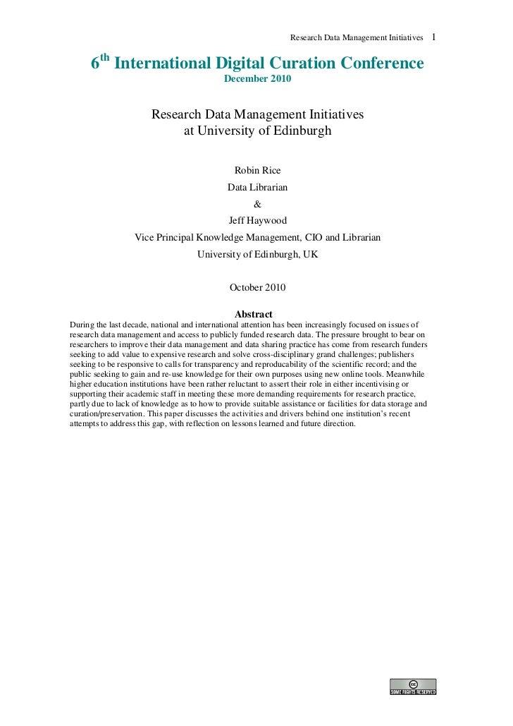 Research Data Management Inititatives at University of Edinburgh
