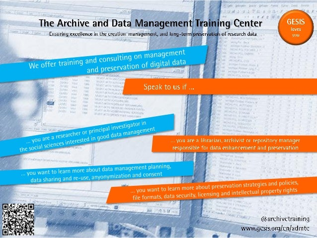 "Archive and Data Management Training Center ""Minute Madness"" slide, IDCC13"