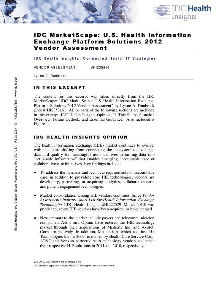 IDC MarketScape: U.S. Health Information                                                               Exchange Platform S...