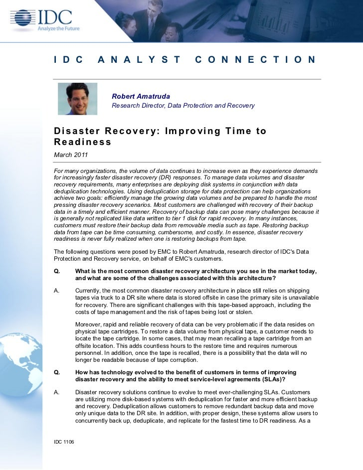 Idc paper on disaster recovery