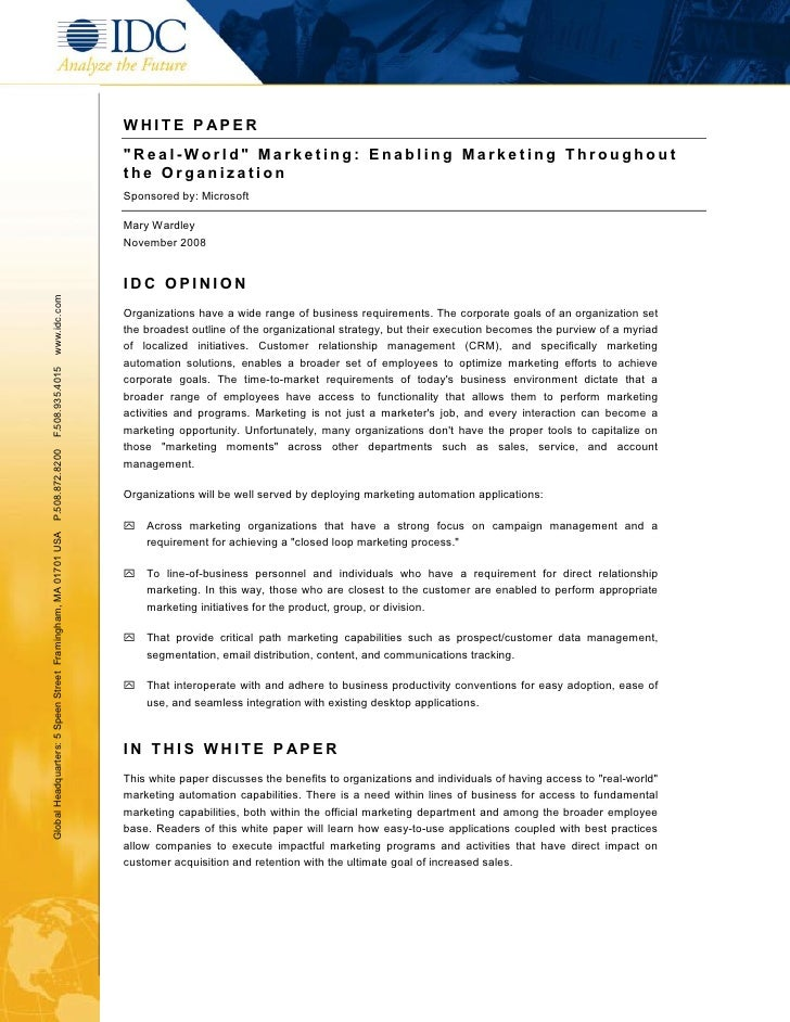 "WHITE P APER                                                               ""Real-World"" Marketing: Enabling Marketing Thro..."