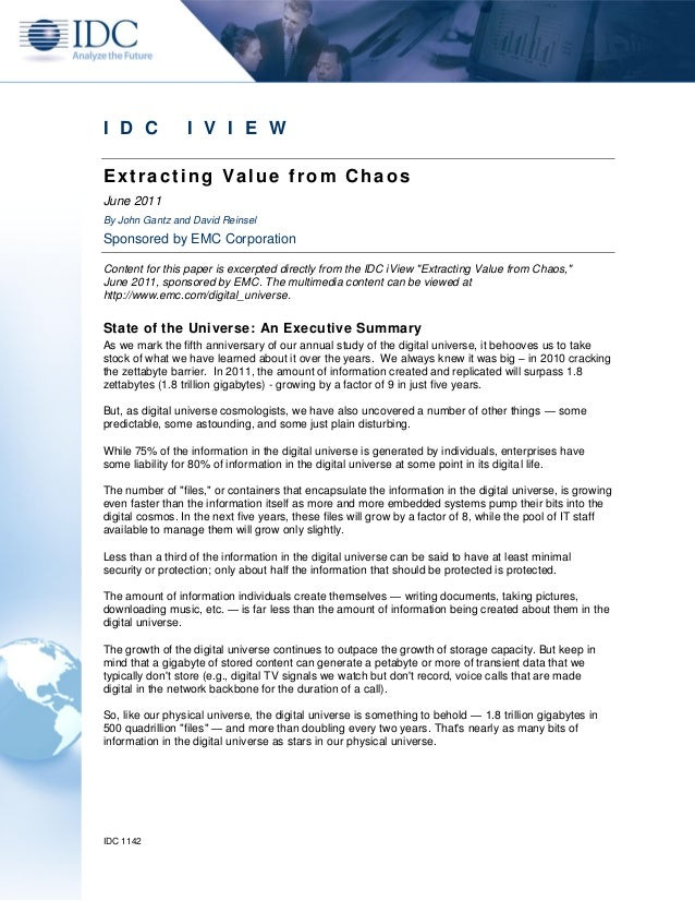 I D C            I V I E WExtracting Value from ChaosJune 2011By John Gantz and David ReinselSponsored by EMC CorporationC...