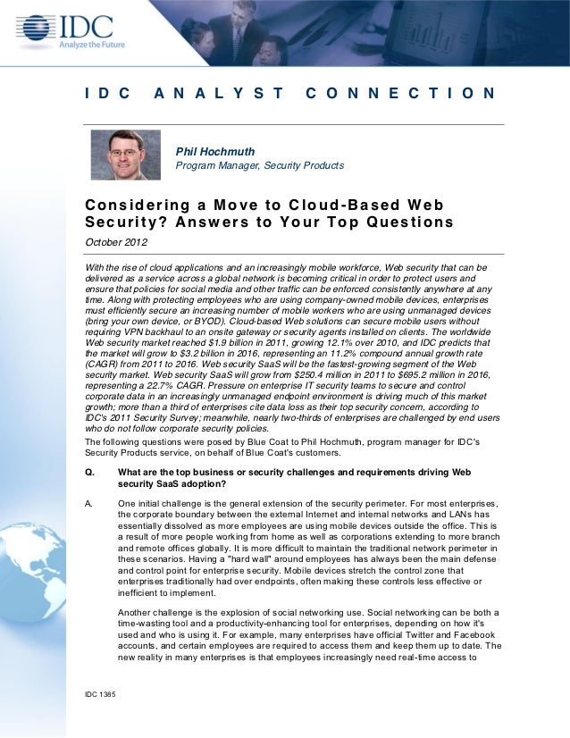IDC: Top Five Considerations for Cloud-Based Security