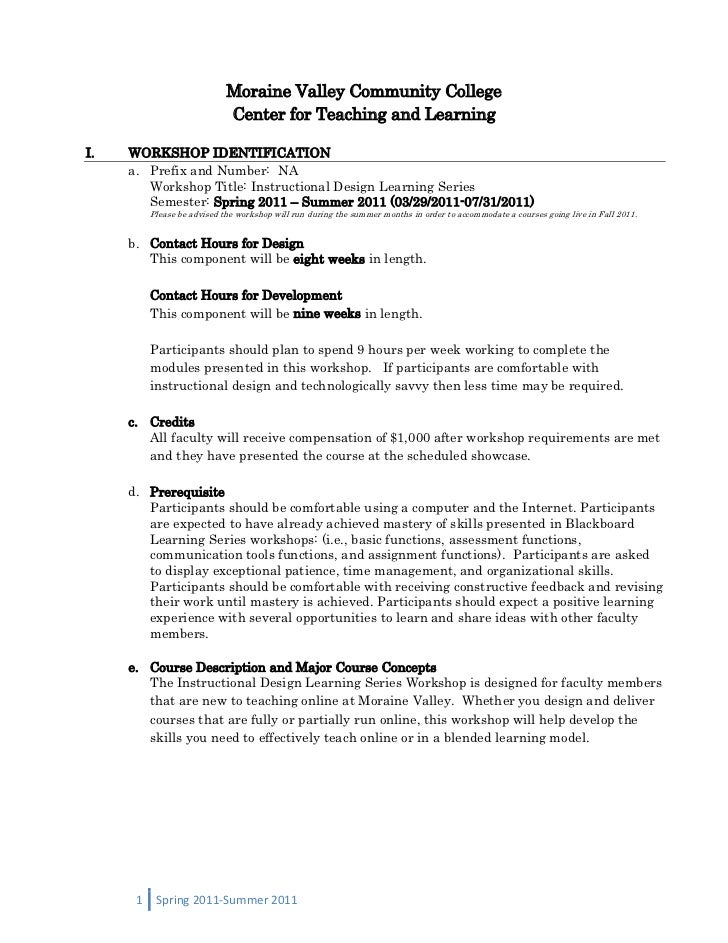 Moraine Valley Community College<br />Center for Teaching and Learning<br /><ul><li>WORKSHOP IDENTIFICATION